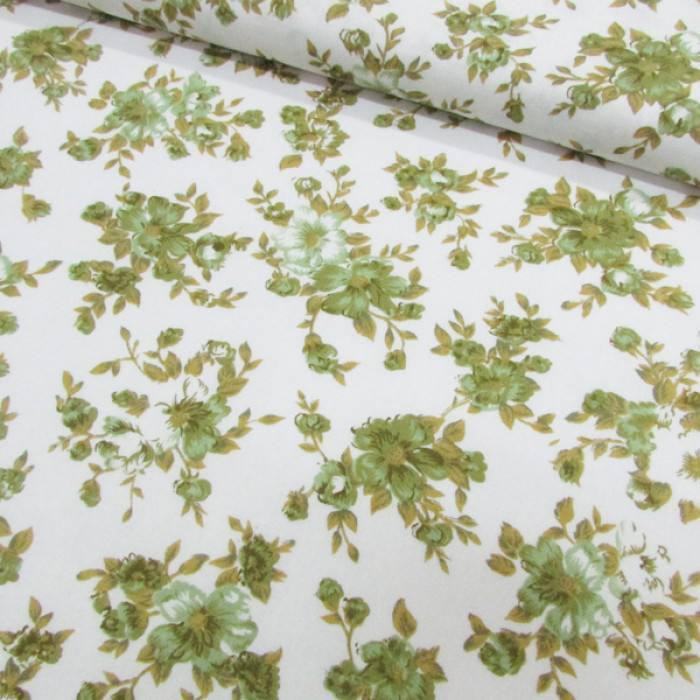 Tecido Tricoline Mista Floral Classic - Verde Oliva - 90% Algodão 10% Poliéster - Largura 1,50m