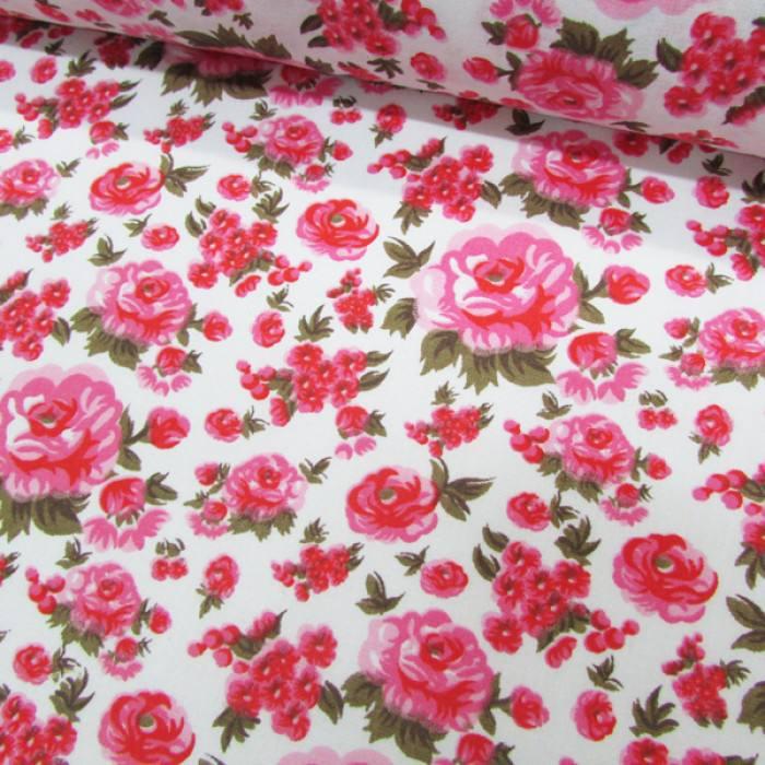 Tecido Tricoline Mista Floral Decora - Rosa - 90% Algodão 10% Poliéster - Largura 1,50m