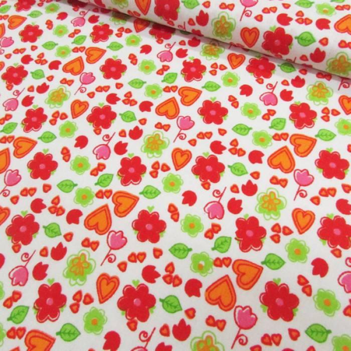 Tecido Tricoline Mista Flores e Corações - Vermelho - 90% Algodão 10% Poliéster - Largura 1,50m