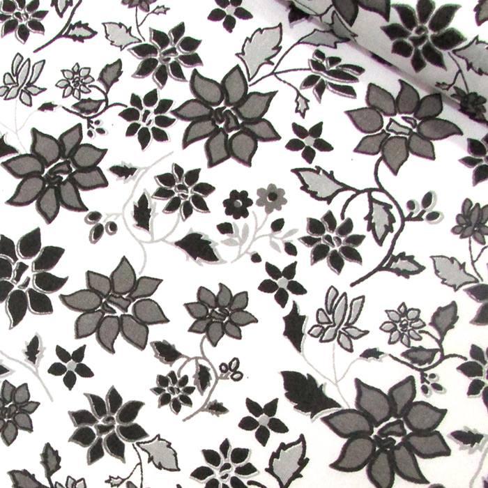 Tecido Tricoline Mista Floral Jardim - Preto e Branco - 90% Algodão 10% Poliéster - Largura 1,50m