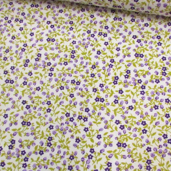 Tecido Tricoline Mista Floral Liberty Luna - Lilás - 90% Algodão 10% Poliéster - Largura 1,50m
