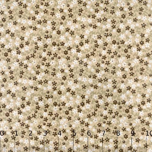 Tecido Tricoline Mista Floral Brown - Marrom - 90% Algodão 10% Poliéster - Largura 1,50m