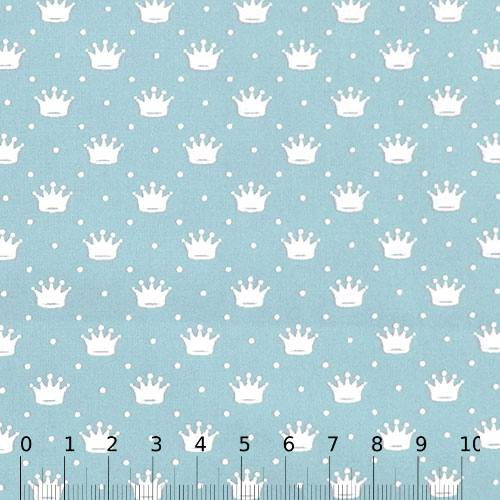 Tecido Tricoline Pequenas Coroas e Poás - Azul Claro c/ Branco - 100% Algodão - Largura 1,50m