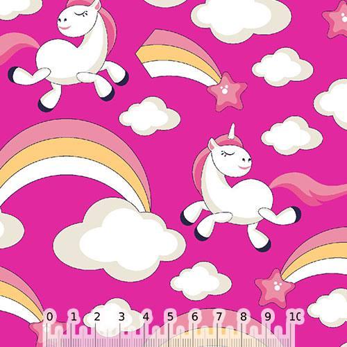 Tecido Tricoline Cadente Unicórnio - Rosa Pink - 100% Algodão - Largura 1,50m