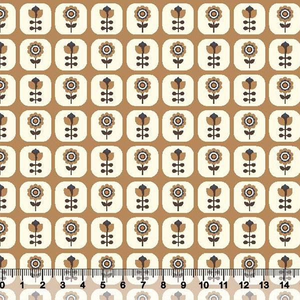 Tecido Tricoline Floral Janelinha - Fundo Mostarda - 100% Algodão - Largura 1,50m
