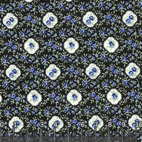 Tecido Tricoline Floral Black Blue - 100% Algodão - Largura 1,50m