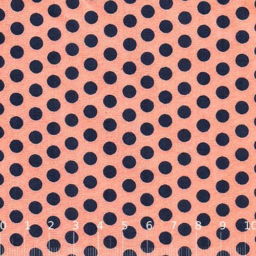 Tecido Tricoline Poá Party Color - Coral c/ Azul Marinho - 100% Algodão - Largura 1,50m