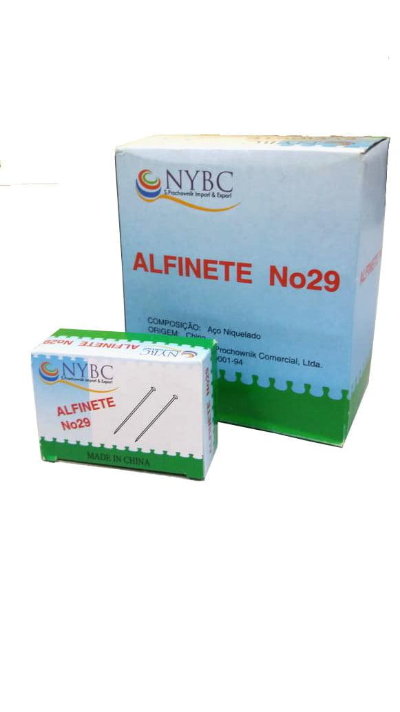 Alfinetes com cabeça metalizada nº 29 - Caixa c/10 unidades