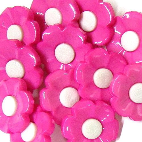 Botão Infantil Flor - Rosa Claro (12 unidades)