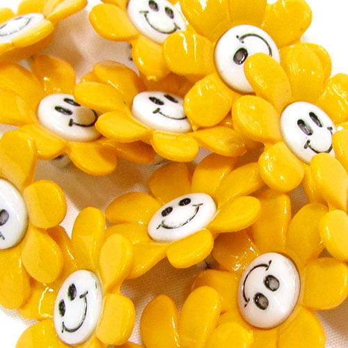 Botão Infantil Florzinhas Felizes - Amarelo (12 unidades)