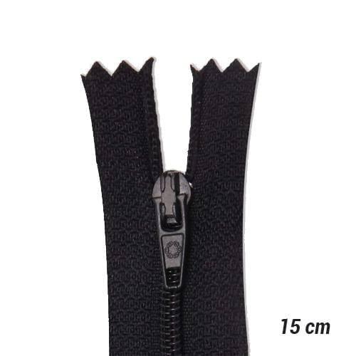 Zíper Sintético Fino Coats - Preto - 15 cm