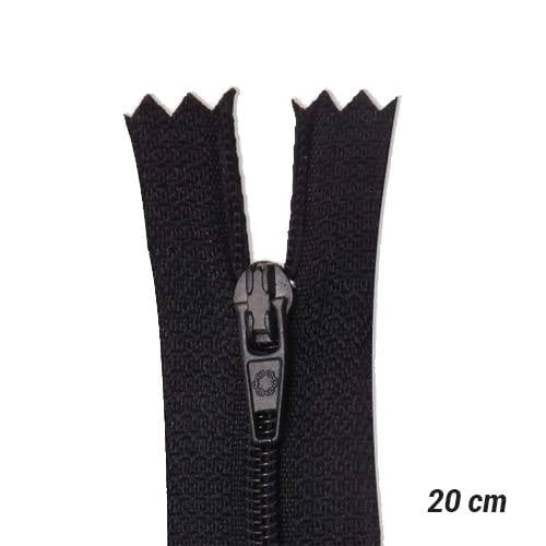 Zíper Sintético Fino Coats - Preto - 20 cm
