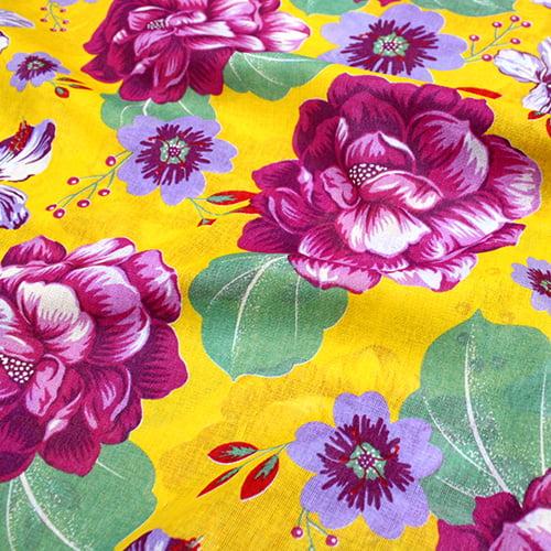 Tecido Chita Floral Amboise - Amarelo - 100% Algodão - Largura 1,40m