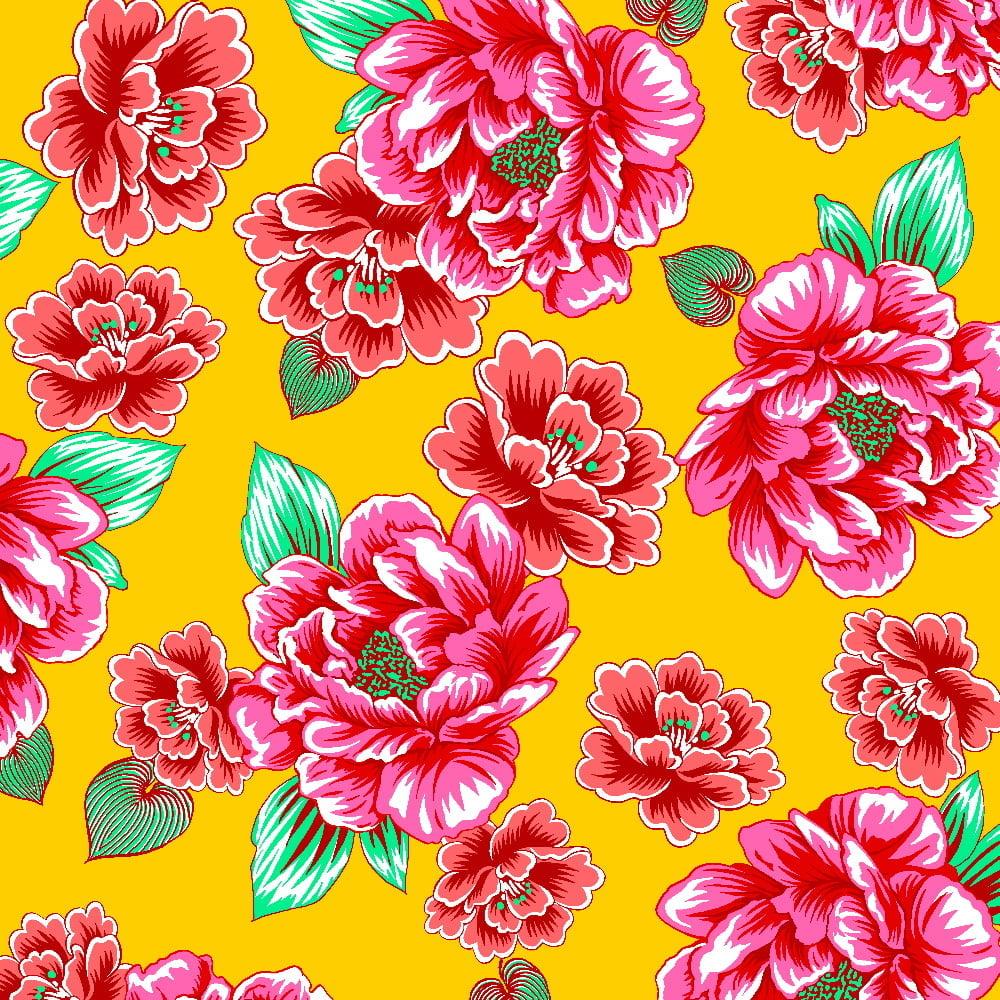 Tecido Chita Floral Antígua - Amarelo - 100% Algodão - Largura 1,40m