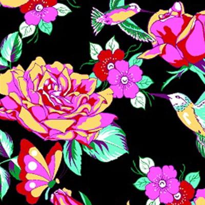 Tecido Chita Floral Argos - Preto - 100% Algodão - Largura 1,40m