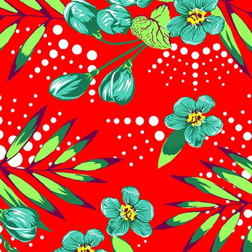 Tecido Chita Floral Comotini - Vermelho - 100% Algodão - Largura 1,40m