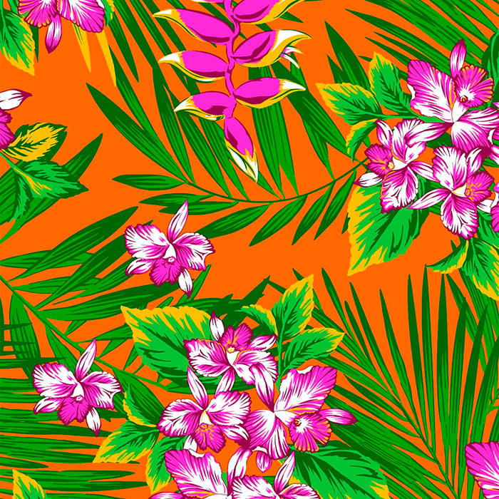 Tecido Chita Floral Creta - Laranja - 100% Algodão - Largura 1,40m