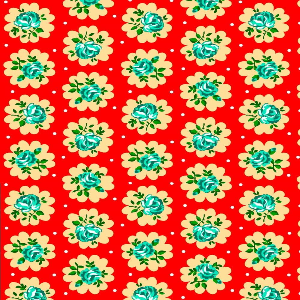 Tecido Chita Floral Elche - Vermelho - 100% Algodão - Largura 1,40m