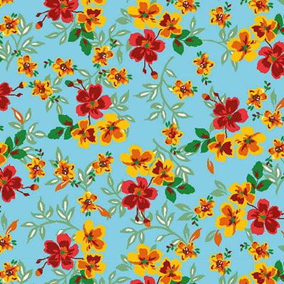 Tecido Chita Floral Jerez - Azul - 100% Algodão - Largura 1,40m