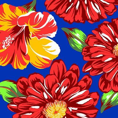 Tecido Chita Floral Marselha - Azul - 100% Algodão - Largura 1,40m