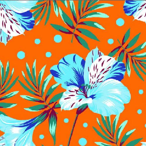 Tecido Chita Floral Nice - Laranja - 100% Algodão - Largura 1,40m