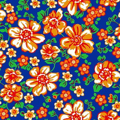 Tecido Chita Floral Rochelle - Azul - 100% Algodão - Largura 1,40m