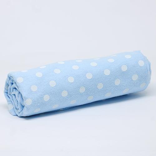 Tecido Flanela Baby - Poá Bolinhas - Azul - 100% Algodão - Largura: 80cm