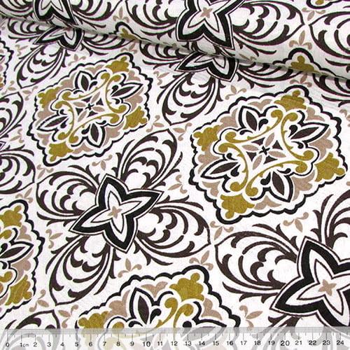 Tecido Jacquard Decor - Azulejos Tom Mostarda - 58% Algodão 42% Poliéster - Largura 1,40m