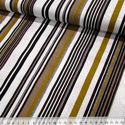 Tecido Jacquard Decor - Listras Design - Mostarda - 58% Algodão 42% Poliéster - Largura 1,40m