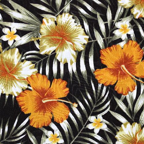 Tecido Jacquard Decor - Floral Hibisco - Golden - 58% Algodão 42% Poliéster - Largura 1,40m