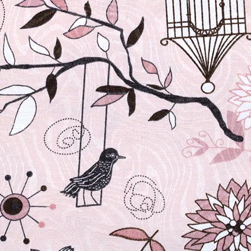 Tecido Jacquard Decor - Free Bird - Rosa - 58% Algodão 42% Poliéster - Largura 1,40m