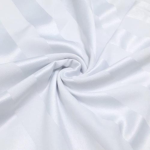 Tecido Jacquard Decor Largo Brocado - Listras 5 cm - Branco Acetinado - 55% Algodão 45% Poliéster - Largura 2,80m