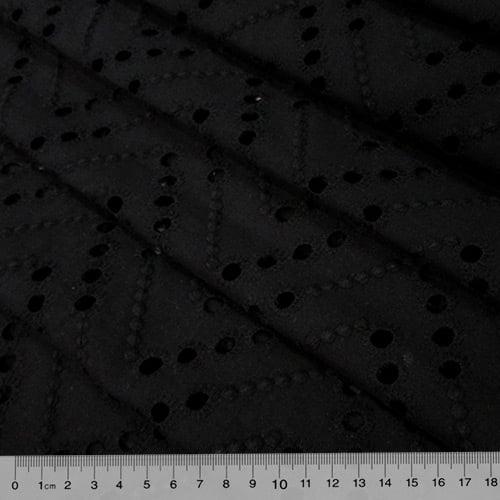 Tecido Lese Bordada Formas REF 04 - Preto - 100% Algodão - Largura 1,35m