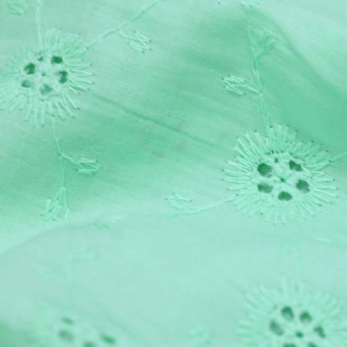 Tecido Lese Bordada Menorca - Verde Menta - 100% Algodão - Largura 1,35m