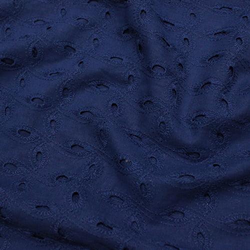 Tecido Lese Bordada Pajuçara - Azul Marinho - 100% Algodão - Largura 1,35m