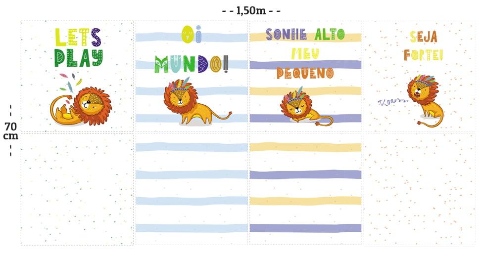 Tecido Tricoline Digital Molde Almofadas - Pequeno Leão - 100% Algodão - 70cm x 1,50m