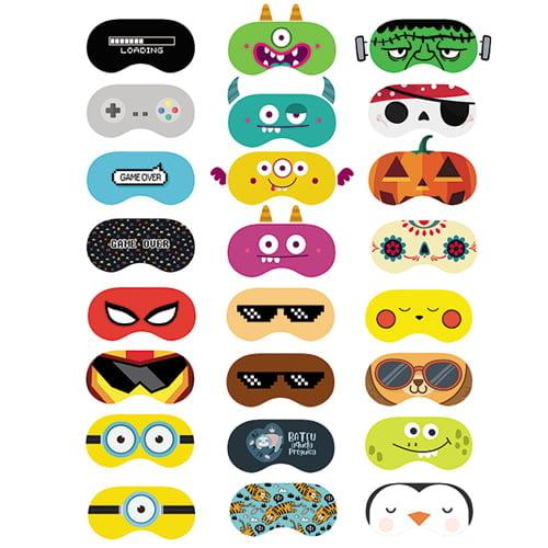 Tecido Tricoline Digital Molde Máscaras de Dormir - Meninos - 100% Algodão - 24 Moldes