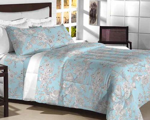 Tecido Percal 200 Fios Estampado - Floral Blue Sky - 100% Algodão - Largura 2,50m