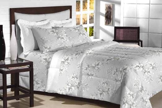 Tecido Percal 200 Fios Estampado - Floral Gray - 100% Algodão - Largura 2,50m