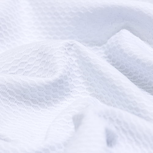 Tecido Piquet Favão - Colmeia Maior - Branco - 100% Algodão - Largura 1,40m