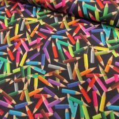 Tecido Tricoline Especial Lápis de Cor I - Fundo Preto - 100% Algodão - Largura 1,50m