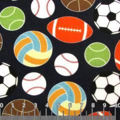 Tecido Tricoline Especial Bolas Esporte - Azul Marinho - 100% Algodão - Largura 1,50m
