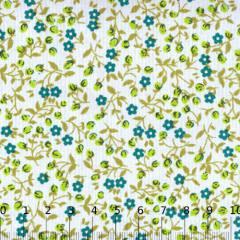 Tecido Tricoline Mista Floral Liberty Luna - Turquesa - 90% Algodão 10% Poliéster - Largura 1,50m