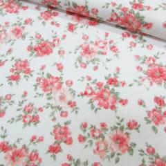 Tecido Tricoline Mista Floral Classic - Rosê - 90% Algodão 10% Poliéster - Largura 1,50m