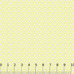 Tecido Tricoline Mista Formas Neutras - Amarelo - 90% Algodão 10% Poliéster - Largura 1,50m
