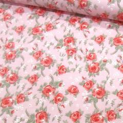 Tecido Tricoline Mista Floral Rosa Delicada - Fundo Rosa - 90% Algodão 10% Poliéster - Largura 1,50m
