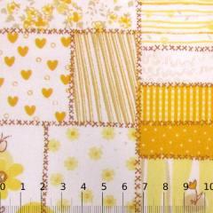 Tecido Tricoline Mista Patch Love - Amarelo - 90% Algodão 10% Poliéster - Largura 1,50m