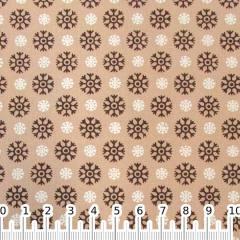 Tecido Tricoline Mista Formas Flocos de Neve - Caqui - 90% Algodão 10% Poliéster - Largura 1,50m