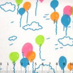 Tecido Tricoline Mista Balões Coloridos - Azul Claro - 90% Algodão 10% Poliéster - Largura 1,50m