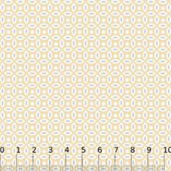 Tecido Tricoline Mista Formas Neutras - Bege - 90% Algodão 10% Poliéster - Largura 1,50m